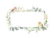 Watercolor vector wreath with green branches and birds.