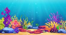 Corals And Algae Underwater World, Sea Bottom Cartoon Background. Vector Seaweeds And Stones Undersea Plants, Aquarium With Seafloor, Marine Wildlife Scenery, Bubbles And Light, Game Design, Diving