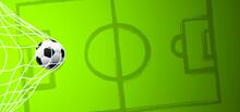 Flat Vector Black Grunge Soccer Ball With Green Field. Grungy Football. Cartoon Euro Sport EK, WK Pictogram Sports Game Cup. 2020, 2021, 2022