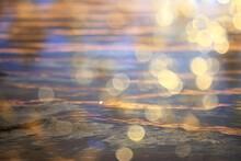 Summer Sun Sea Texture Glare On The Water, Abstract Ocean Aqua Background