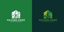 Green Home Nature Logo Design, House Shaped Leaf Concept