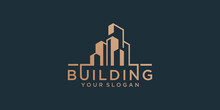Building Logo Design Template With Gold Color