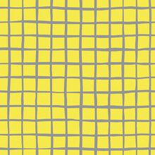 Vector Abstract Seamless Pattern With Grey Crossed Lines On Yellow Background. Checkered Backdrop In Simple Rough Style. Illustration In Colors Of The Year. Perfect For Fabrics And Wrapping Paper.