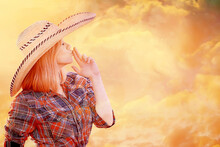 Sexy Cowboy Girl In Hat, Country Style Summer American West