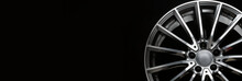 An Alloy Wheel Banner Fragment On A Black Background. Mockup For The Panorama Site Header. Car Tuning Auto Parts.