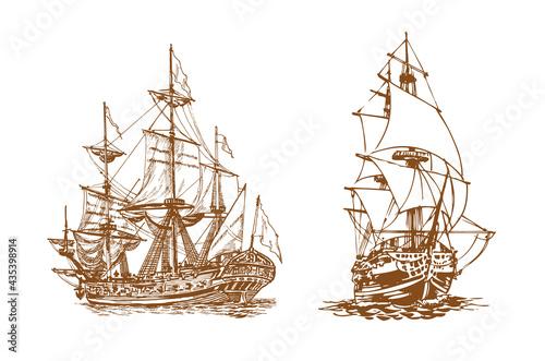 Tela Sailing ship, graphic hand drawing