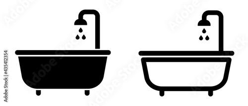 Obraz na plátně Bathtub icon, bath shower. Vector illustration.
