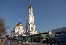 Rostov Cathedral Of The Nativity Of The Blessed Virgin. Citizens Walk Near The Cathedral