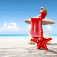 Cold Summer Drink On Beach And Free Space For Your Decoration