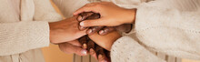 Close Up Shot Of African American Middle Aged, Adult And Preteen Female Hands Holding Together On Beige Background, Banner