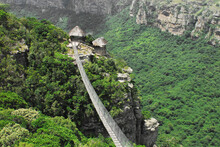 Africa- Panoramic Overview Of The Beautiful Oribi Gorge And Foot Bridge