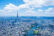 東京スカイツリー 東京都心部 ヘリコプター空撮写真