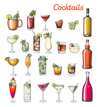 Alcoholic Cocktails Hand Drawn Vector Illustration. Colorful Set. Cognac, Brandy, Vodka, Tequila, Whiskey, Champagne, Wine, Margarita Cocktails. Bottle And Glass.