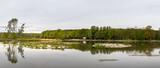 small islands with waterfowl in the pond, Vrbenske rybniky Nature reserve, Ceske Budejovice, Czech republic