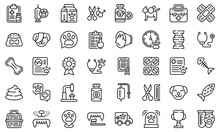 Veterinary Clinic Icons Set. Outline Set Of Veterinary Clinic Vector Icons For Web Design Isolated On White Background