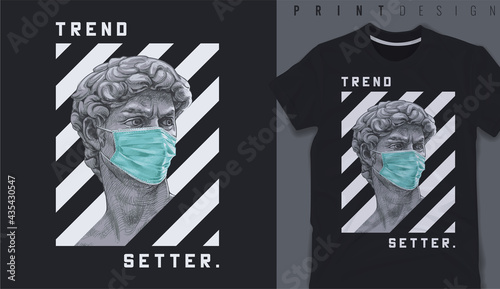 Fotografie, Obraz Graphic t-shirt design, typography slogan with antique statue wearing face mask,vector illustration for t-shirt