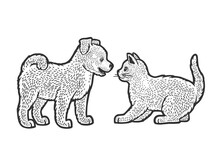 Puppy And Kitten Line Art Sketch Engraving Vector Illustration. T-shirt Apparel Print Design. Scratch Board Imitation. Black And White Hand Drawn Image.