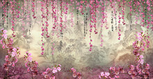 Pink Flowers On A Wall