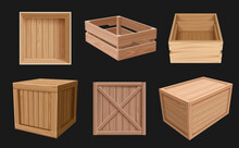 Wooden Containers. 3d Boxes For Fragile Products Empty Packages Various Views Cargo Shipping Wooden Containers Decent Vector Realistic Pictures Collection