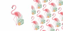 PINK FLAMINGO FLORAL PATTERN   EXOTIC BIRD  SUMMER ELEMENTS  BEACH PARTY TEXTILE VECTOR SEAMLESS PRINT
