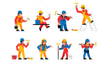 Painters Workers Set. Men And Women Are Painters. Finishing Works, Wall Painting, Plastering, Repair. Vector Illustration Isolated On White Background