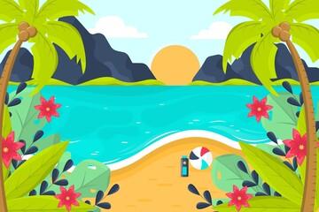 Fototapeta na wymiar Flat Summer Background For Videocalls