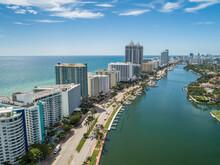 Aerial Ocean View Of Miami South Beach Along Collins Avenue Yacht Marina Blue Green Diamond