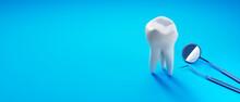 Zahnpflege Motiv Mit Leerraum Auf Blauem Untergrund