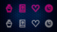 Set Line Holy Bible Book, Heart, Wedding Cake With Heart And Clock. Glowing Neon Icon On Brick Wall. Vector