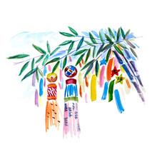 Japanese Sendai Tanabata Festival. Drawing With Watercolors