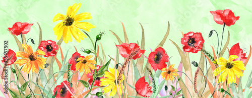 Fotografia Watercolor Frame of Red poppy,  chamomile