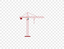 Cargo Crane, Tower Crane Icon. Vector Illustration.