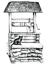 A Sketch Of A Well And A Black Cat. Vector Illustration Of The Countryside On A White Background. Stock Image Of A Pet. A Mystical Picture For Covers, Prints, Halloween Design.