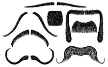 Set Of Vector Mustache In Sketch Style On White Isolate. Men's Shave Style. Clip Art To Create A Guy Image. Graphic Elements For Advertising A Barbershop.