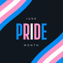 Pride Month June . Transgender Flag. LGBT, LGBTQ, LGBTQ   Template, Banner, Background. Vector Illustration