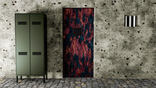 Prison Gate, Cell Entrance. Wardrobe And Door. Bunker And Secret Place, Basement. Underground Gloomy Places, Wall With Bullet Holes, And Metal Door Peeling And Corroded. 3d Render