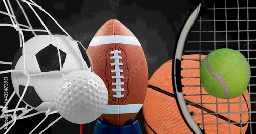 Composition of multiple sport equipment and balls on black background