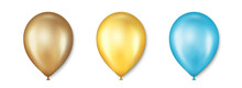 Birthday Balloons Vector Set. Golden Balloon For Celebration, Party And Wedding. Celebrate Anniversary, Helium Yellow Balloon. Festival Romantic Decorations. Realistic Birthday Party Elements. Vector