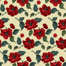 Seamless Pattern With Large Red Flowers. Dense Composition Of Red Flowers On A Branch, Leaves. Imitation Of Watercolor, Vector.