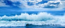 Bright Ocean Panoramic Landscape In Blue Tones.