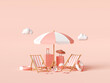 canvas print picture - Summer vacation concept, Beach umbrella and travel accessories on pink background, 3d illustration