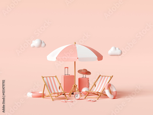 Summer vacation concept, Beach umbrella and travel accessories on pink background, 3d illustration