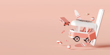 Summer Vacation Concept, Travel To The Beach By Van Carrying Travel Accessories On Pink Background, 3d Illustration