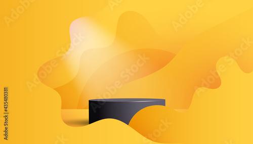 Obraz na plátně Trendy empty black pedestal display on vivid yellow summer background with soft wave, minimal style