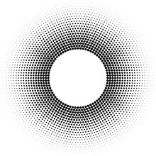 Halftone Ring Or Torus Vector Pattern With Black Dots, Design Element - Circle Raster Texture On White Background