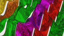 Abstract Background Of Deformed Multicolored Stripes. 3d Render Illustration