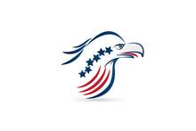 Bald Eagle American Flag Logo Icon Vector Image Symbol