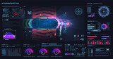 Accident prevention system. Autonomous vehicle movement. Help the driver while driving. Top view of a self-driving CAR on the road. Futuristic user interface HUD, FUI. Hologram, copy space. Vector - 435493153
