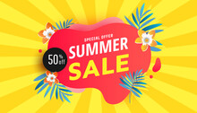Summer Sale Red Bubble Template Banner With Fresh Palm Leaves On Yellow Background. Tropical Background. Vector Illustration