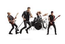 Music Band With A Male Singer Jumping With A Microphone